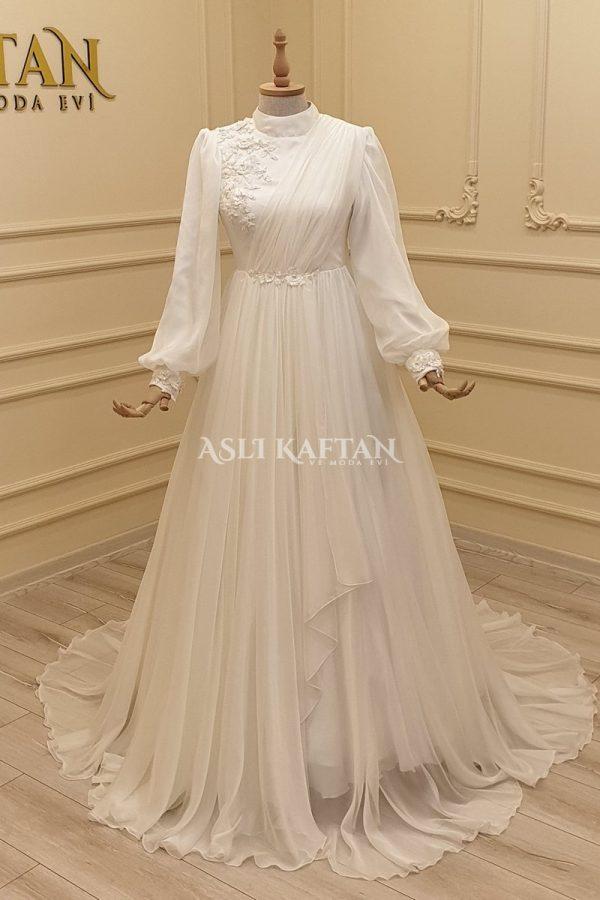 Gülçiçek Kırık Beyaz Abiye Modeli,