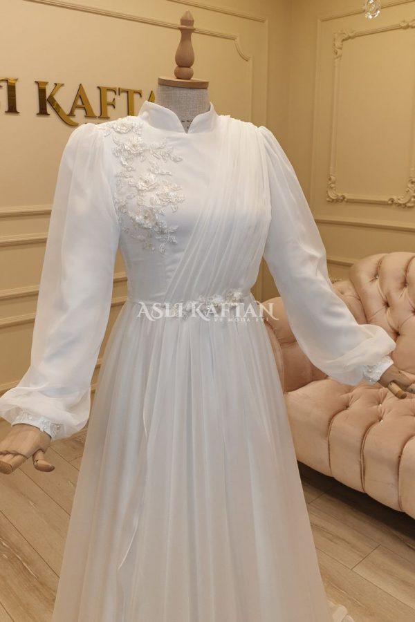 Gülçiçek Kırık beyaz Nikah Elbisesi