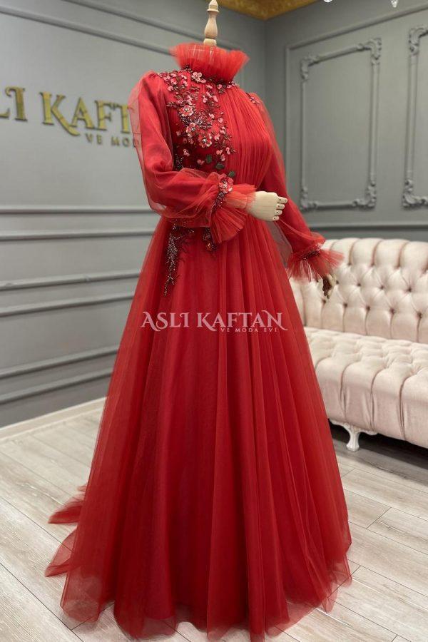 Açelya Kırmızı Abiye Modeli,